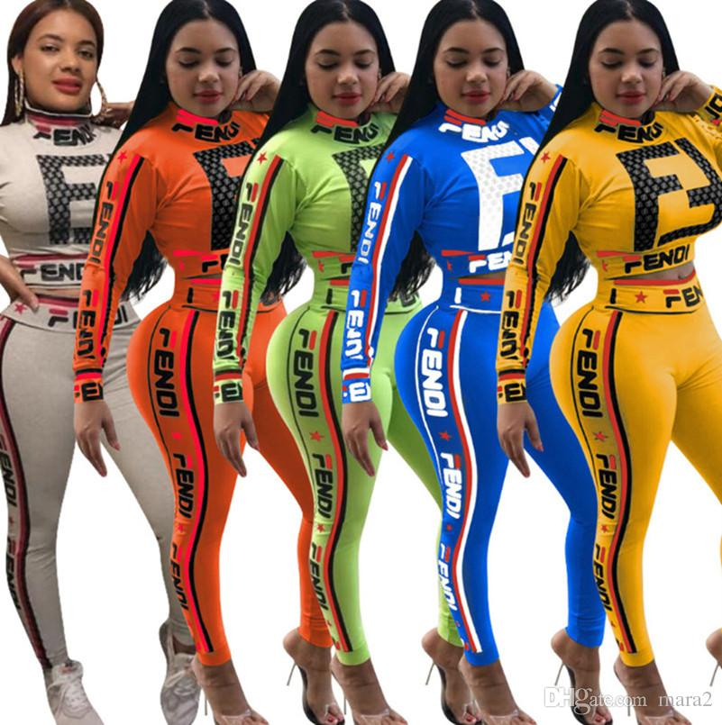 Women brand sport 2 piece set outfit jogger suit women sports set Striped Pullover High Neck shirt Hoodies bodycon leggings pants Print 34