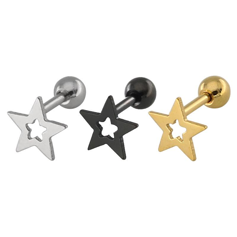 Runde Ohrringe 2020-Edelstahl Modeschmuck Pentagramm Sterne Ohrringe Gold Paar silberne Dreieck Frauen