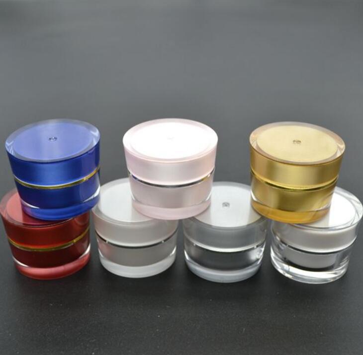 5g высокого качества Акриловые Empty Косметические контейнеры для образцов Крем для глаз Jar с крышкой многоразового использования Контейнер LX2284