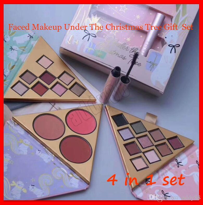 2019 New Faced Cosmetics Christmas Gift Set Under The Christmas Tree Sets Contains Eyeshadow Blush Better Than Sex Mascara 4 in 1 Kit