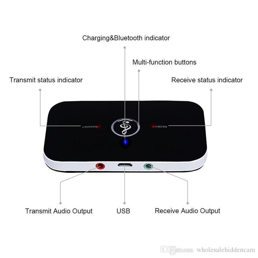 صوت Bluetooth محولات بلوتوث اللاسلكية 4.2 الارسال والاستقبال 2 في 1 من 3.5MM عدة السيارة لنظام TV / المنزل ستيريو سماعات سماعات