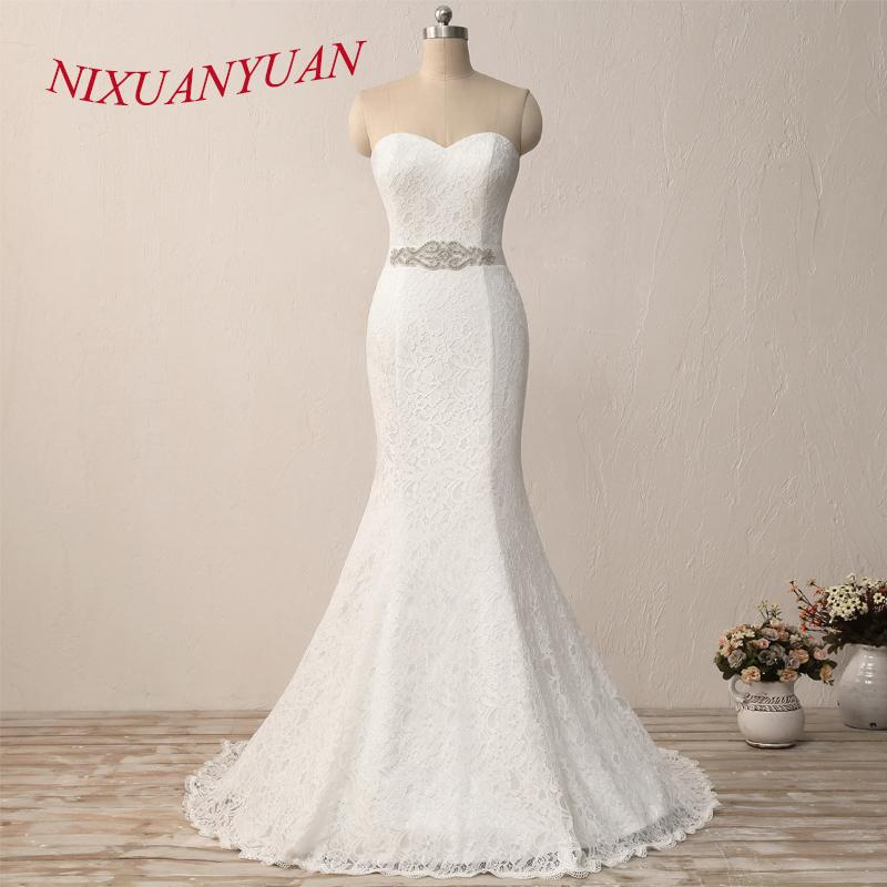 Nixuanyuan New Elegant White Ivory Lace Bridal Gown Mermaid Wedding Dress 2019 Vintage Cheap Vestido De Noiva With Sash In Stock Y19072901