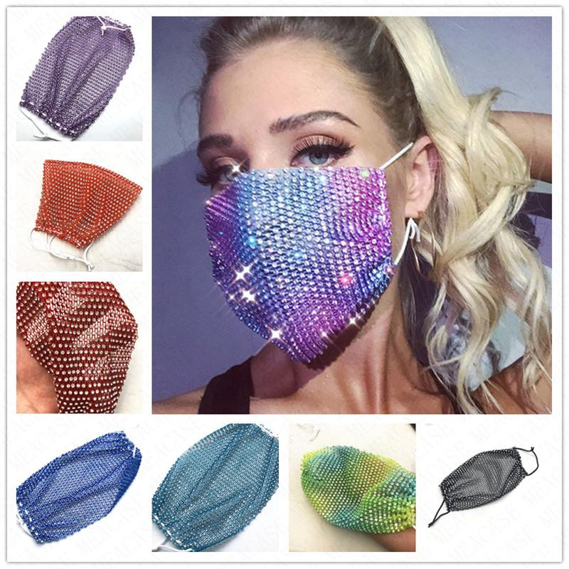 Art und Weise bling bling Fischernetz Gesichtsmaske staub- waschbar Reuse Maske Kristall Schutz Mund bedeckt Frauen Parteischablonen D62314