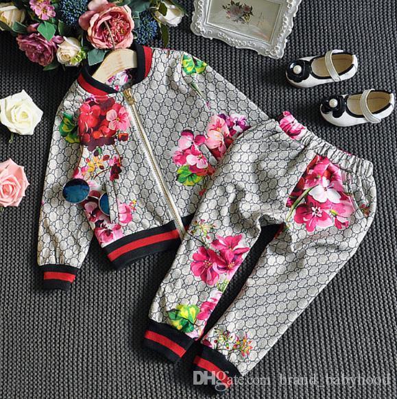 Дети Костюм весна осень мальчик девочка костюм цветка куртка + брюки 2 шт наборы Детская одежда Повседневная Baby Girl Boy Установить костюм