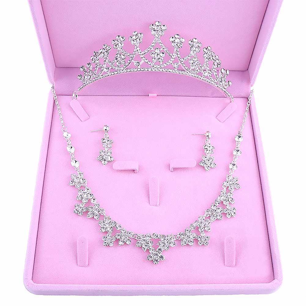Spose di lusso Matrimonio Set di gioielli di moda Principessa Tiara Corona Fiore Donne Ragazze Collana Orecchini da sposa Copricapo LB