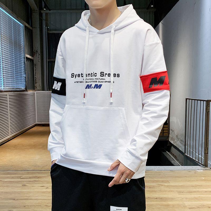 High Quality 2020 Spring Fashion Streetwear bianca con cappuccio degli uomini di Hip Hop Pullover Felpa con cappuccio Slim Fit Abbigliamento