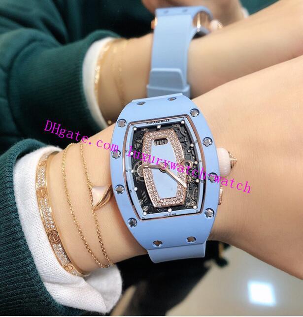 2 Стиль Лучший выпуск R / M 037-01 синий керамический корпус Циферблат Бриллианты Япония Miyota Автоматические 28800 RM037-01 Sapphire женщин Часы каучуковый ремешок