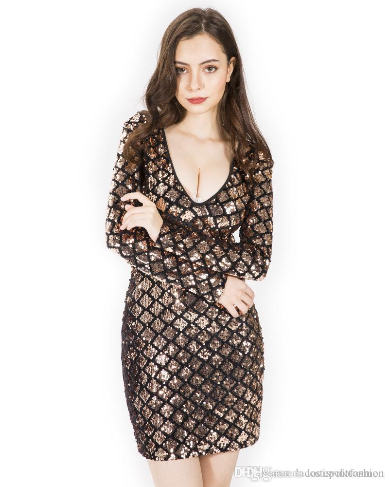 Sequins Womens Bodycon Drersses Designer Deep V Neck Luxury Summer Dresses Fashion Ladies Night Club Dresses