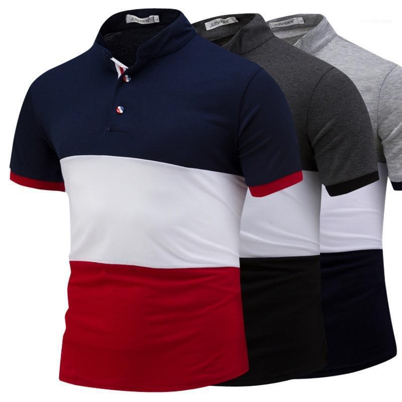 Rayas Impreso Superior Masculina para hombre del color del remiendo camisetas de manga corta de verano O cuello para hombre Casual Tees