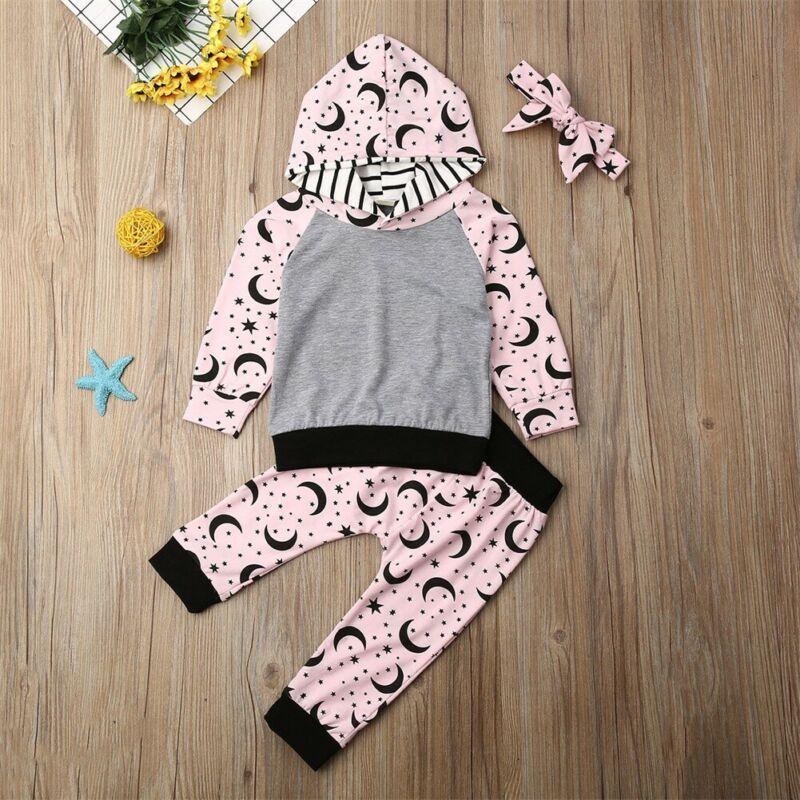 Niño de los cabritos de la niña de 2 piezas de ropa de vestuario Conjunto Estrella Luna con capucha y camisetas Pantalones Leggings Conjuntos de ropa