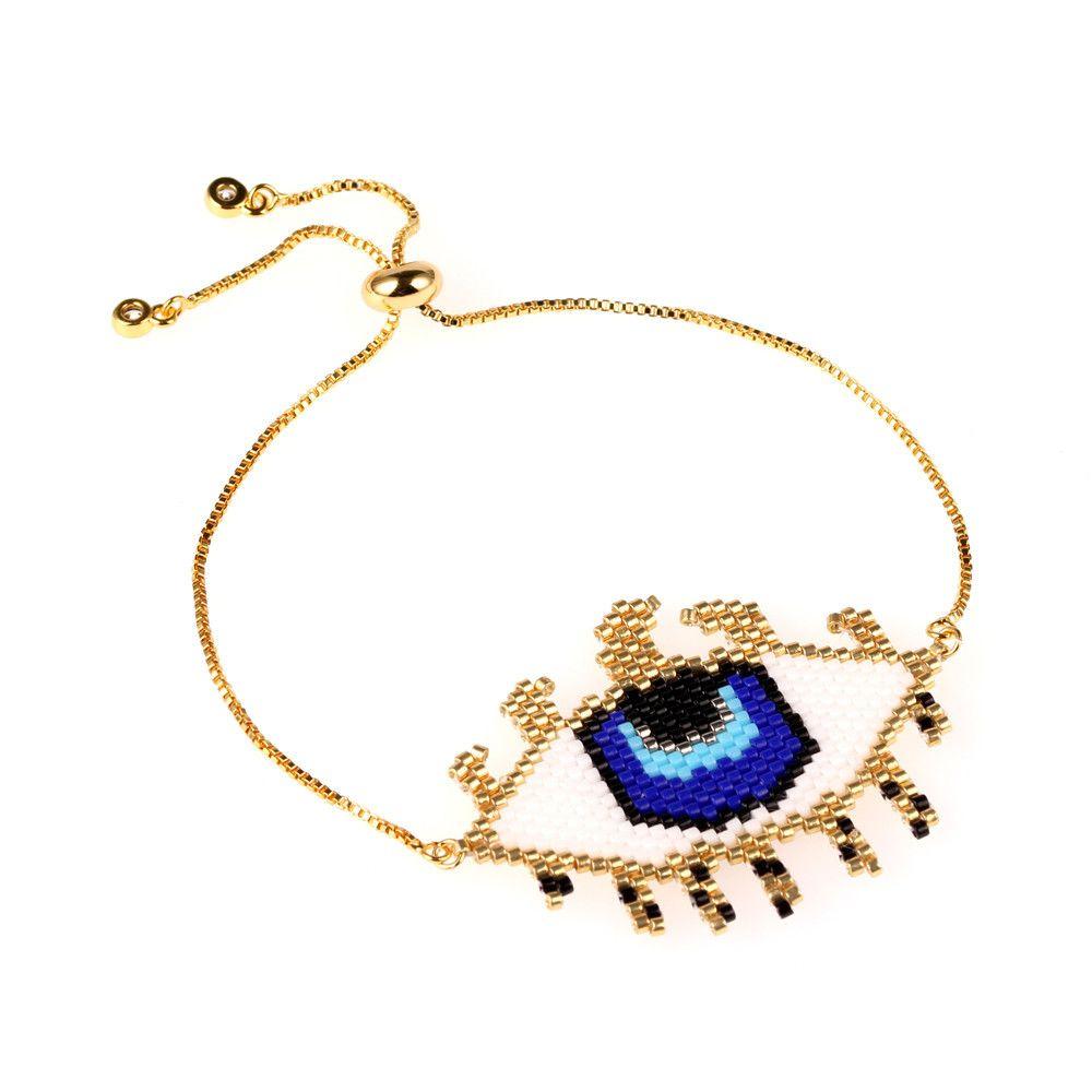 Olho do Diabo MIYUKI Mizhu Handwoven Cílios de Ouro Pulseira Olho Azul Lady Delicado Pulseira Da Moda