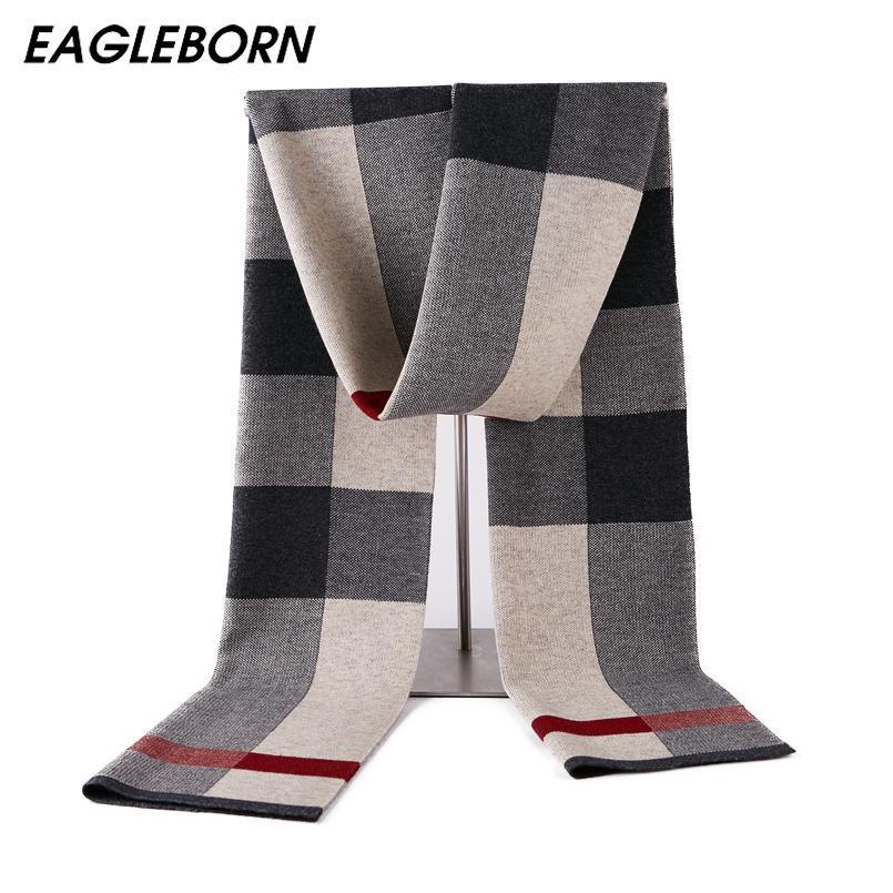 Homens Inverno Wool Scarf Homens Designer Scarf Mens Luxo 2019 New manta Luxo Luz Marinha espessamento xadrez de lã 180 * 30