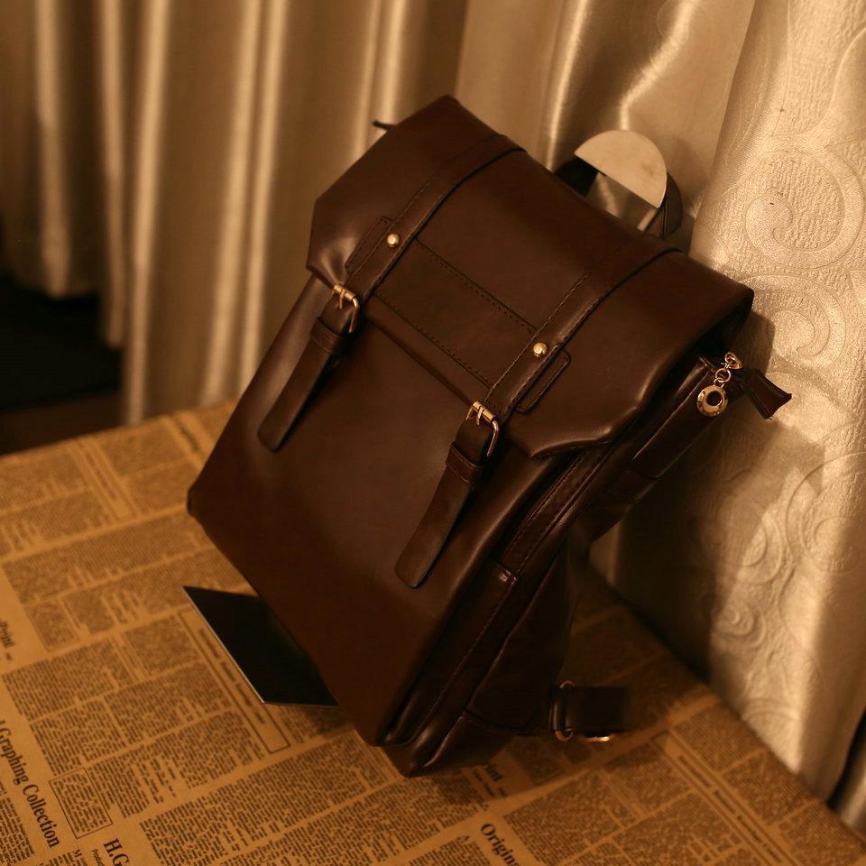 Designer Rucksack Luxus Designer Rucksäcke Unisex koreanische Version Einfache College Stil Retro Postman Tasche PU Leder Schultasche Mode 3