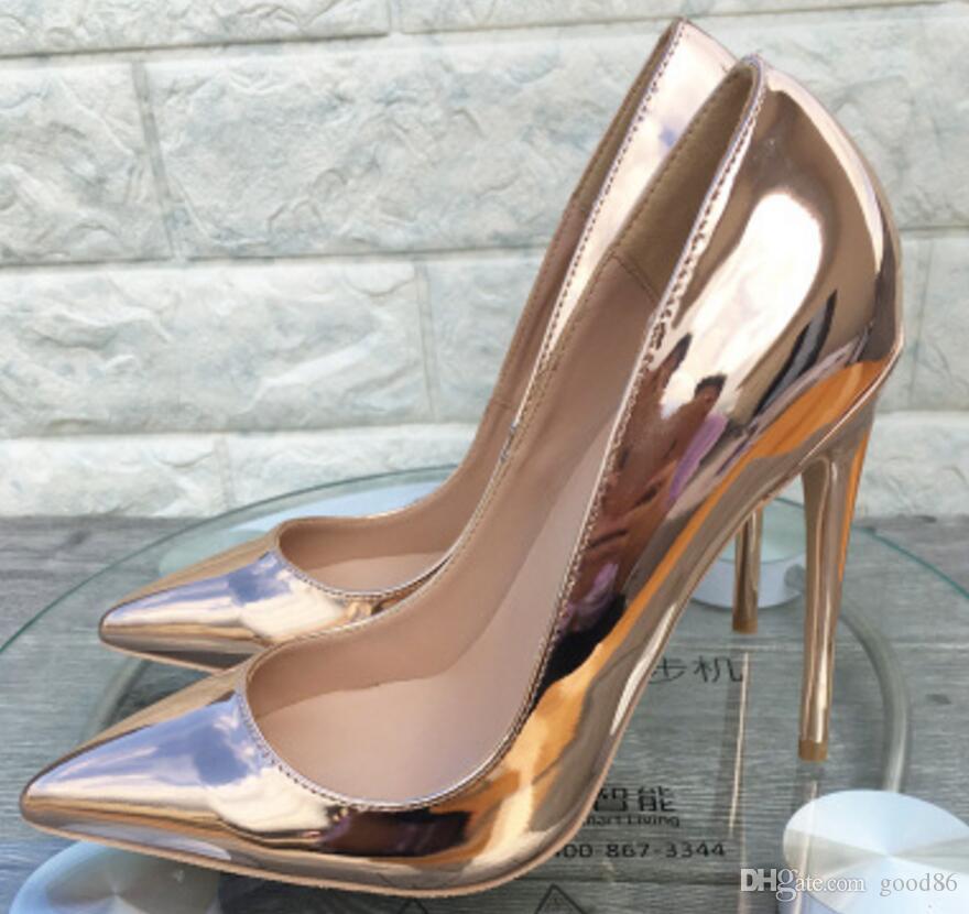 2019 Charol Oro rosa 8cm 12cm 10cm Código grande 44 Cúspide Zapatos individuales Fondo rojo para mujer Zapatos de tacón alto Vestido de boca baja de tacón fino