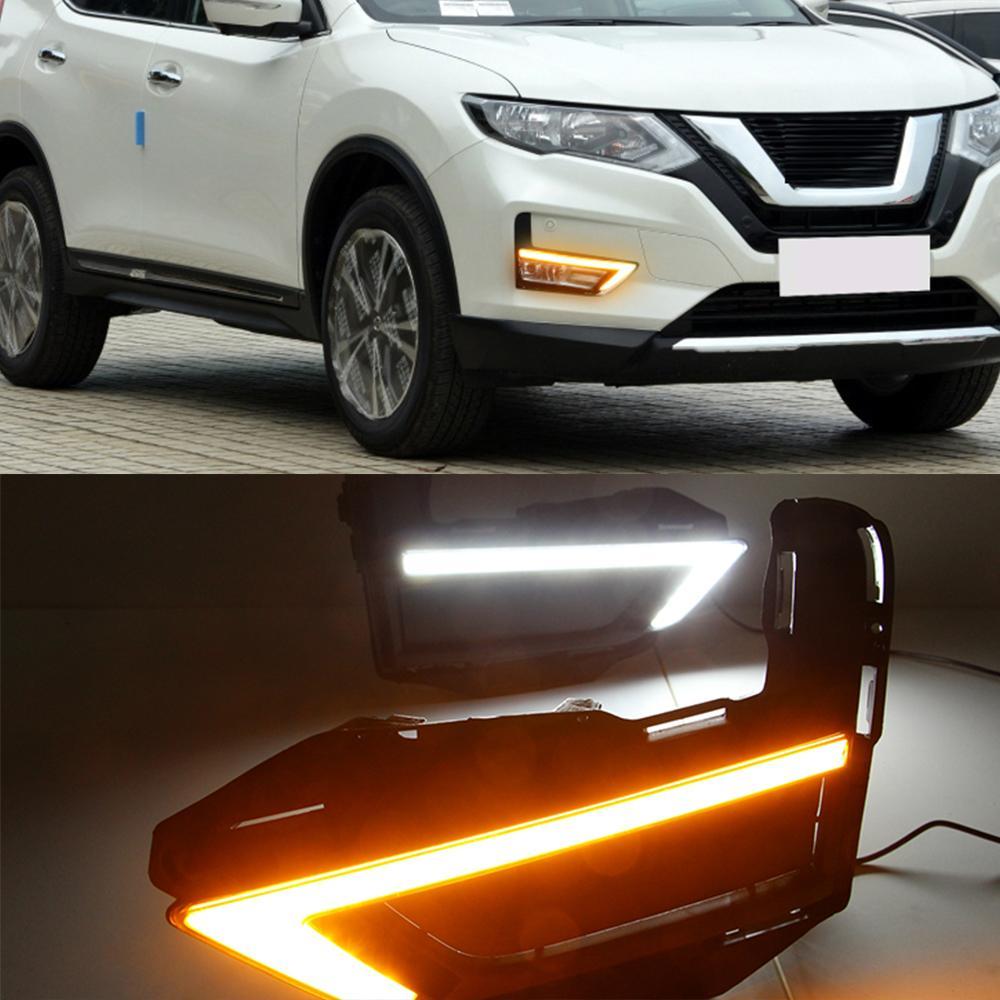1 par DRL Luces de manejo de cubierta de la lámpara niebla 12V luz del día con señal amarilla por Nissan X-Trail Xtrail X rastro 2017 2018 2019 2020