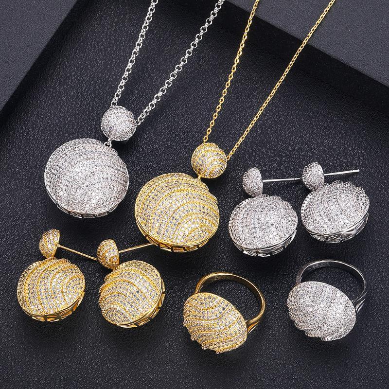 janekelly Nigeria bijoux de mariée Zircon Sets de femmes pour Party, Dubaï Nigeria CZ Parures de cristal de mariage