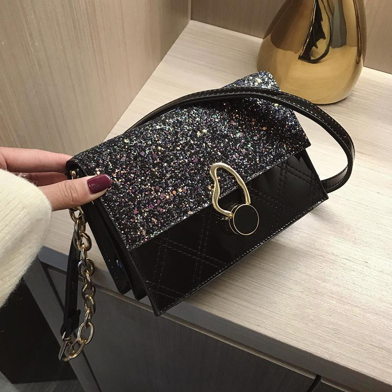 Lentejuelas Plaza de Crossbody del 2019 de la moda de Nueva patente de alta calidad de cuero de las mujeres del bolso de la cadena del hombro Messenger Bag