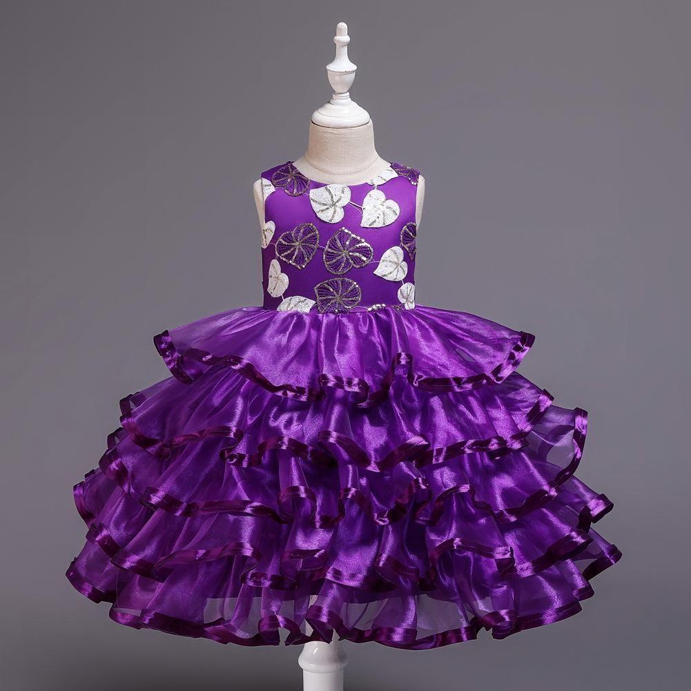 Рождество элегантные девушки цветок дети платье для принцессы девушки торт пачка подиум платье фортепиано выступление событие выпускной вечернее платье E200101
