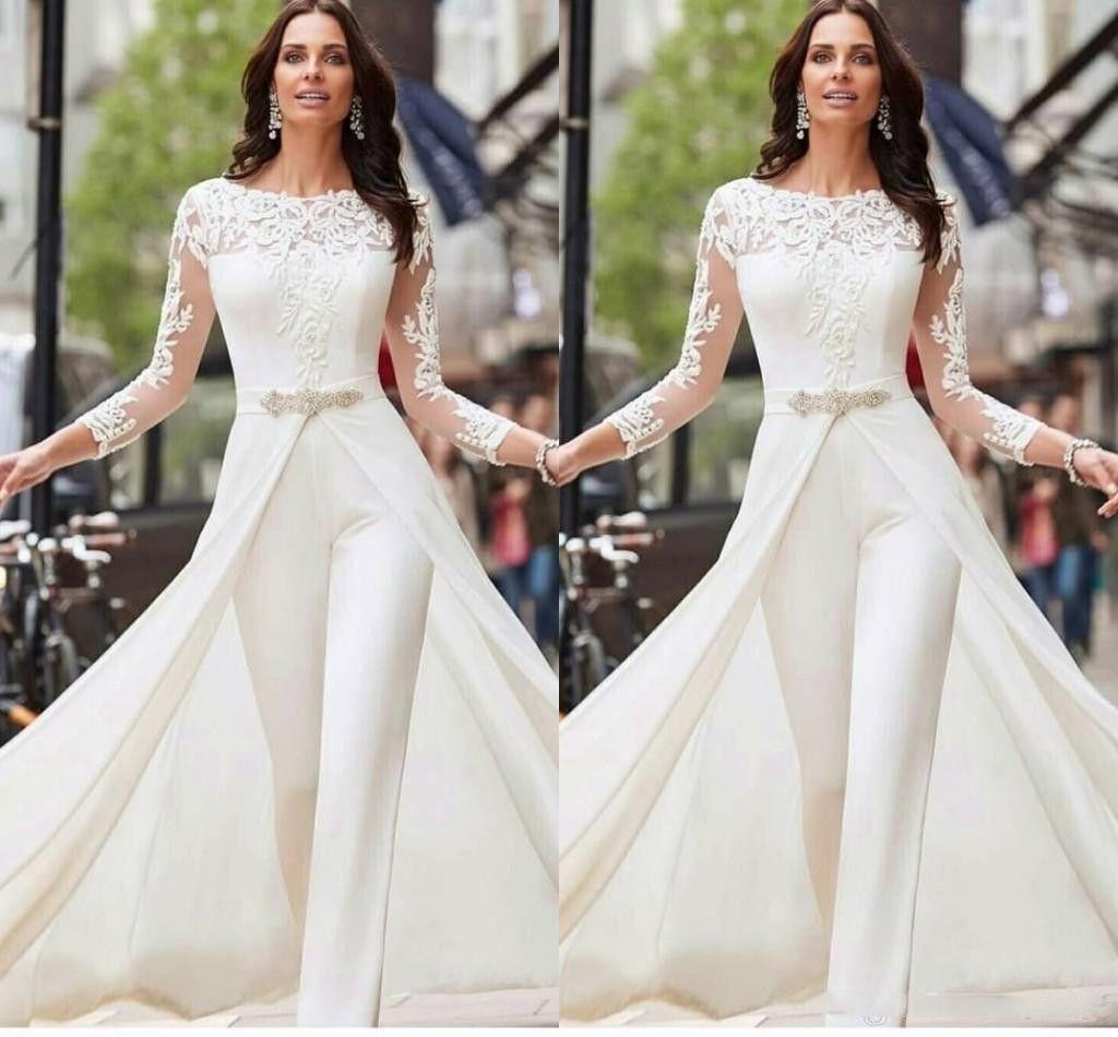 Abiti da sposa a maniche lunghe bianca delle tute Abiti da sposa in pizzo sposa con overskirts Perline Cristalli Plus Size Abiti da sposa pantaloni vestito
