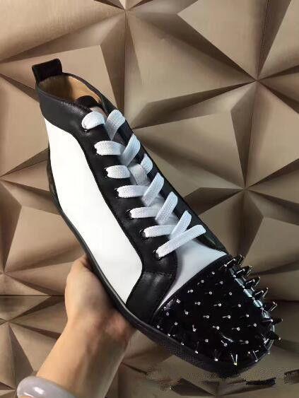 2019 degli uomini del progettista di lusso inferiore rossa del cuoio delle scarpe da tennis glitter Strass Con I Punti High Top Sneakers festa di nozze scarpe casual