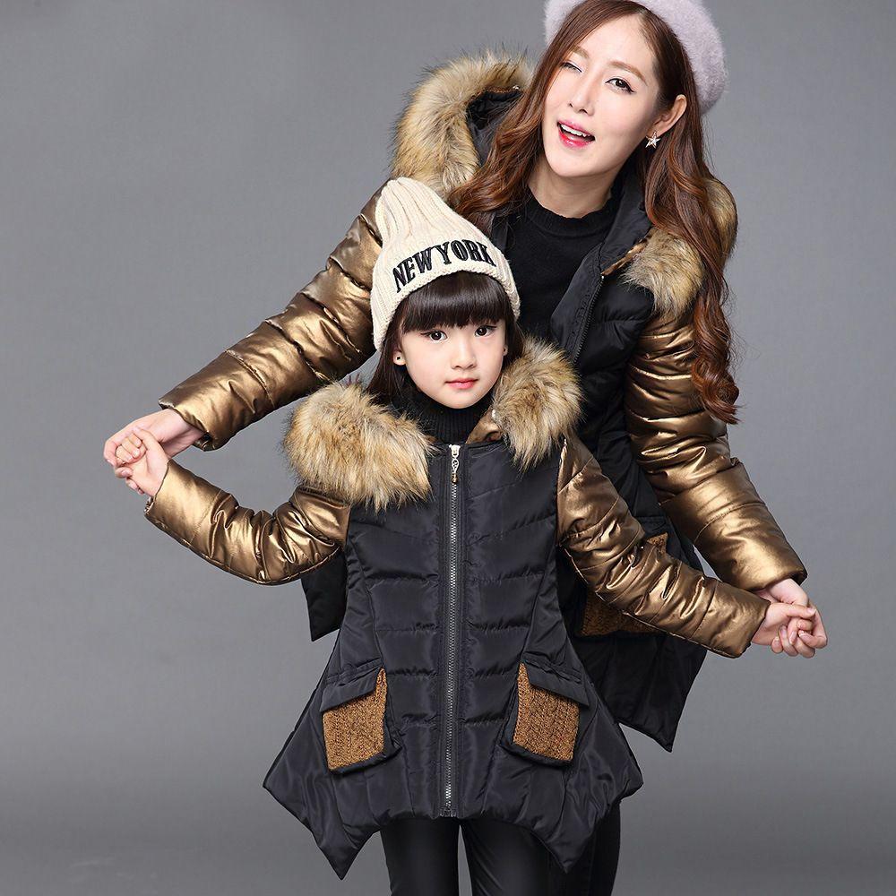 Mode hiver Épaissir Manteau Enfant chaud Coton Enfants Vêtements Patchwork col de fourrure de bébé Filles Vestes pour 2-14 Ans
