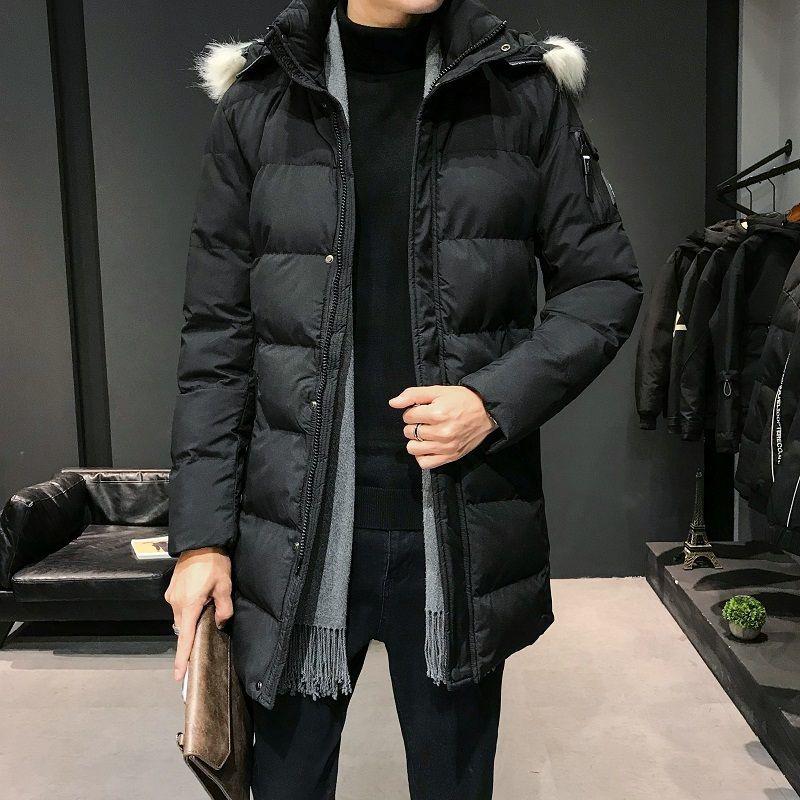 Kış Coat Erkekler Sıcak Moda Kalın Parka Erkekler Rasgele Kürk Yaka Coat Adam Vahşi Gevşek Pamuk Uzun Ceket Elbise Büyük Beden L-9XL