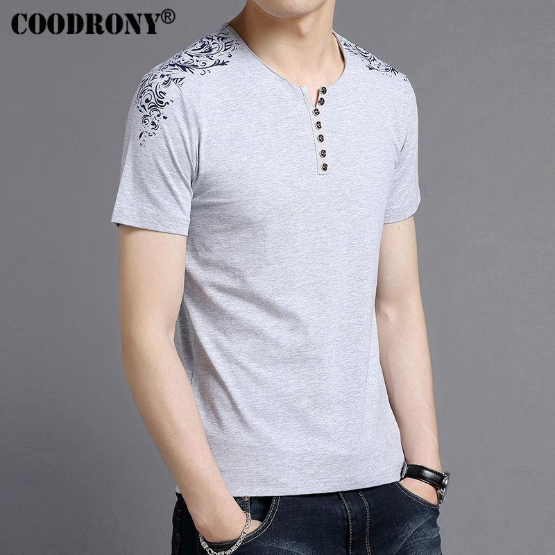 Coodrony T-shirt Männer Markenkleidung 2017 Sommer Neue Kurzarm Henry Kragen T-shirt Männer Mode Blumendruck Baumwolle Tees S7603 Y19060601