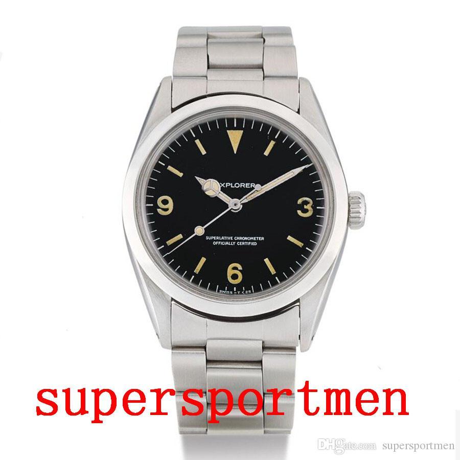 İyi Kalite El saatler 1965 yıl Vintage 36mm Explorer 1016 Paslanmaz Çelik Mekanik Otomatik Erkekler Erkek İzle Kol saatı