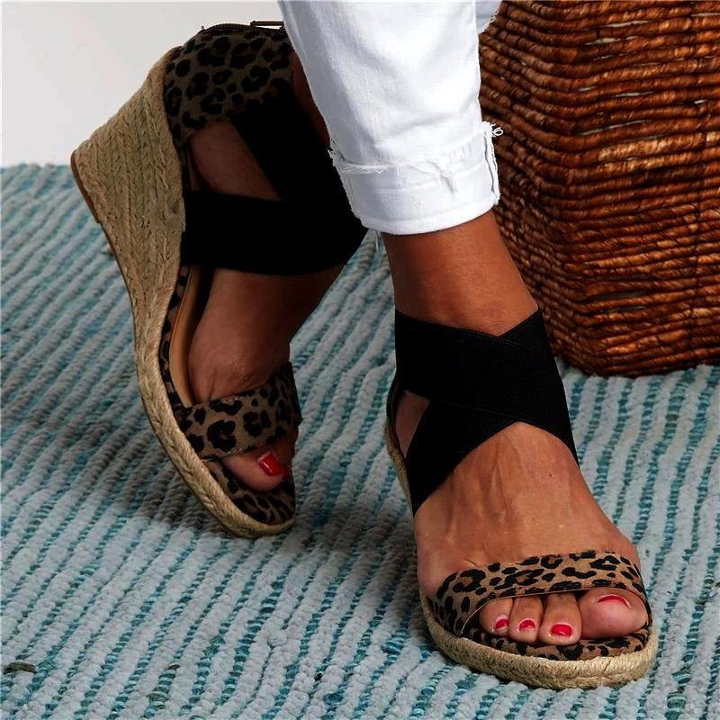Women Sandals Summer Leopard Wedges