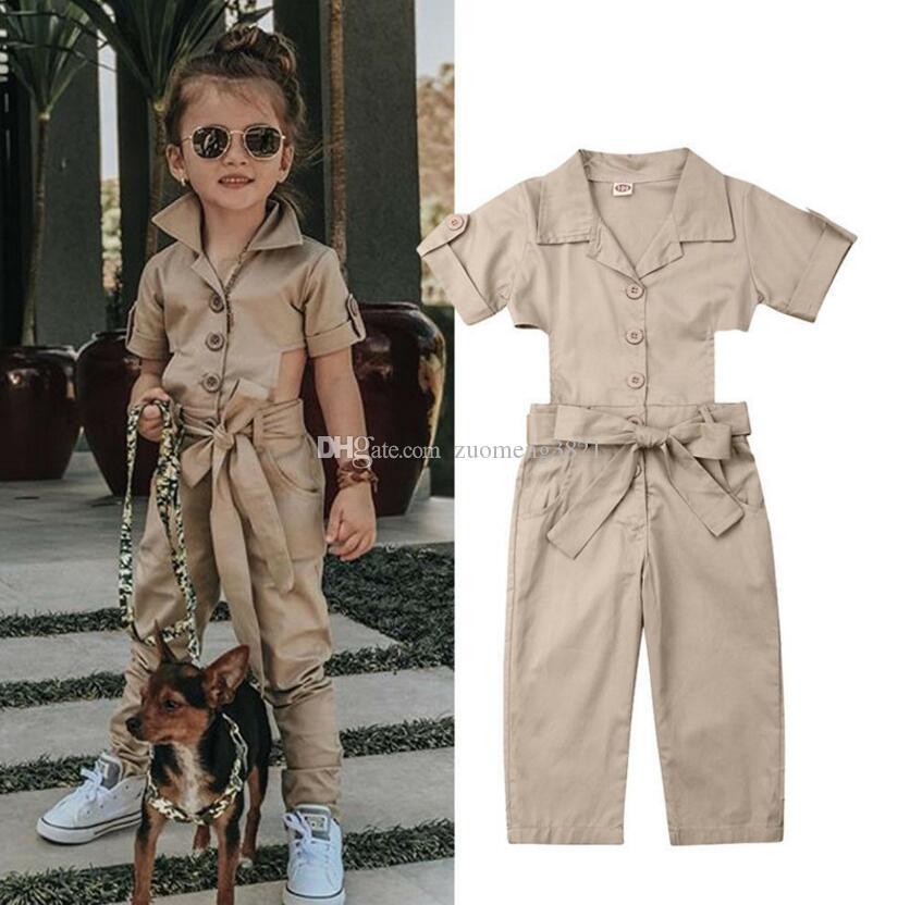 Moda Toddler Baby Kid Girl Inghilterra Style Tuta Bambini Estate Manica corta Mostra vita Tute Pantaloni Pantaloni Tuta allentata casual