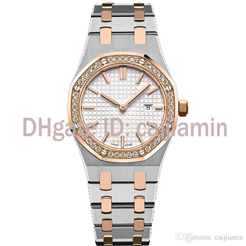 2019 뜨거운 판매 숙녀 시계는 최고 품질의 손목 시계 사파이어 디자이너를 볼 석영 전체 스테인레스 스틸 스트랩이 33mm 5ATM 방수 시계