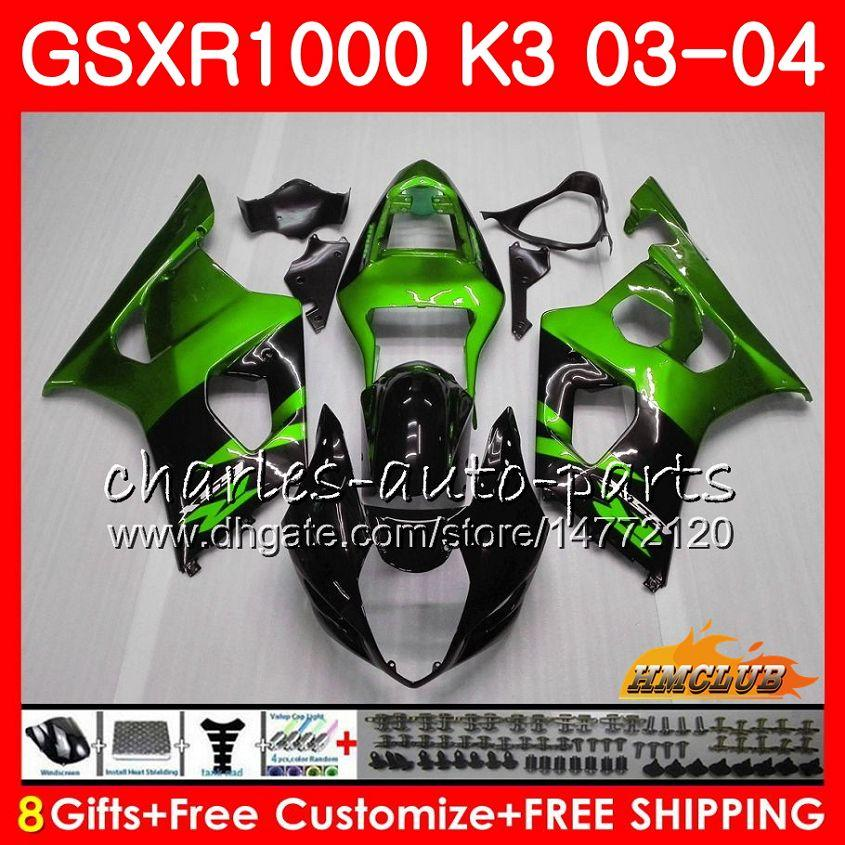 Ram för SUZUKI GSX-R1000 GSXR 1000 GSXR1000 03 04 Kropp 15HC.137 Bodywork Green Black GSX R1000 K3 GSXR-1000 03 04 2003 2004 Fairings Kit