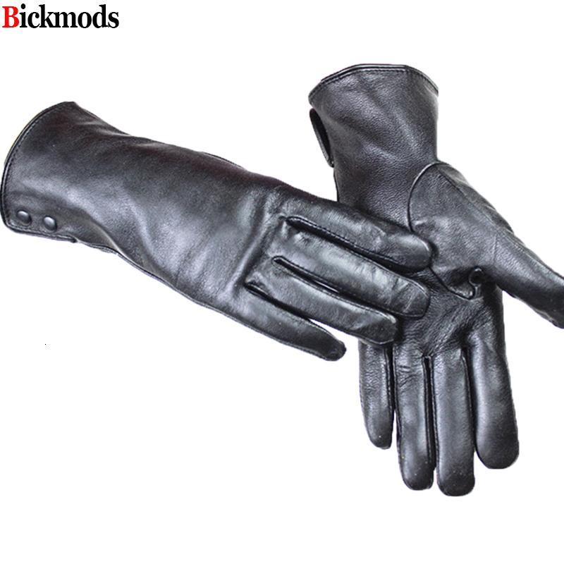 Leather female metal button style velvet lining warm autumn and winter free shipping sheepskin gloves Y191024