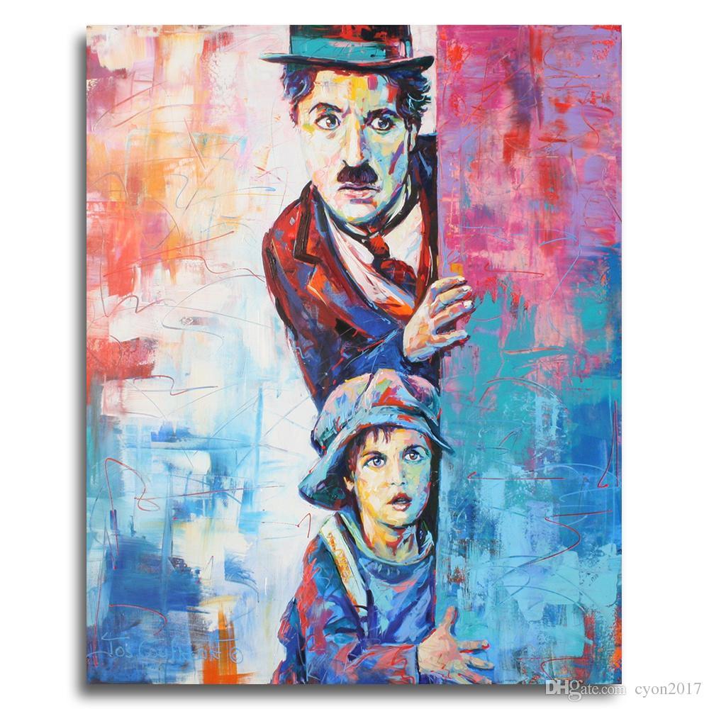 Moderne abstrakte Figur Leinwand Charlie Chaplin Pop Art Wandbilder Für Wohnzimmer Wohnkultur Malerei Graffiti Kunst Poster