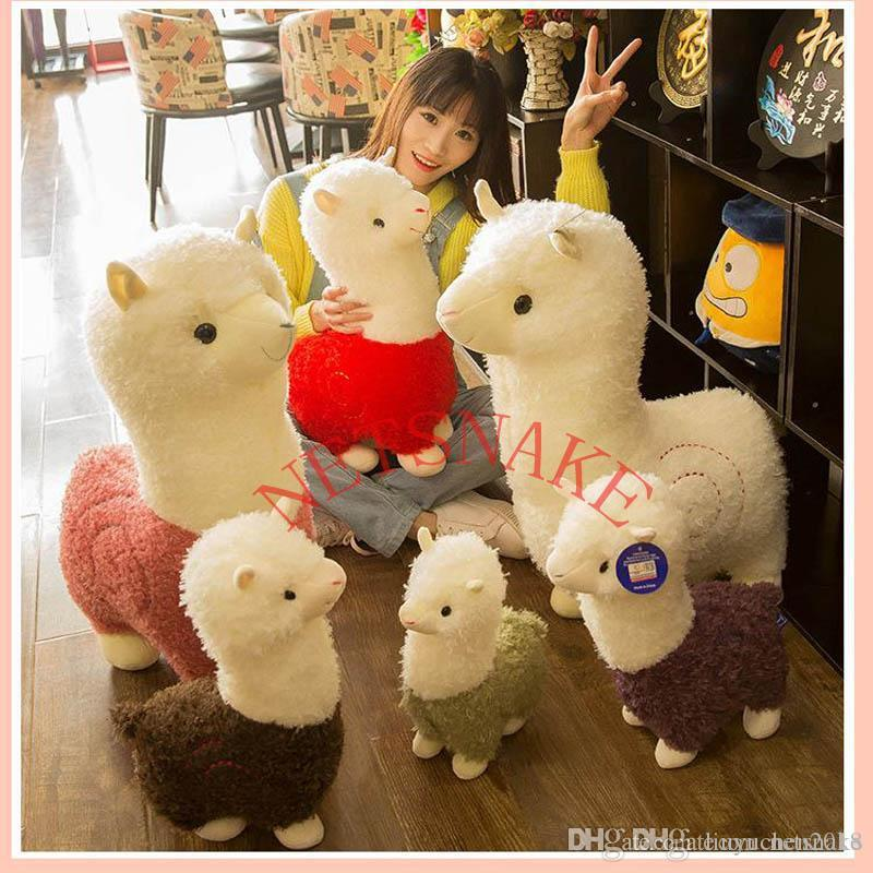 잔디 진흙 말 인형 알파카 플러시 장난감 긴 머리카락 베개 만화 귀여운 양 짧은 플러시 장난감 귀여운 미니 알파 채워진 알파카 봉제 인형 장난감