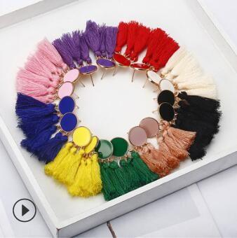Серьги с кисточками модные чешские длинные серьги с кисточками на свадьбу подарки на день рождения дешевые серьги многоцветные 1003