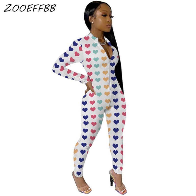ZOOEFFBB Seksi Kalp Baskı BODYCON tulum Bayan Tulum Stretch Rave Giyim Tek Parça Kulübü Kıyafetler Uzun Kollu Body tulumları