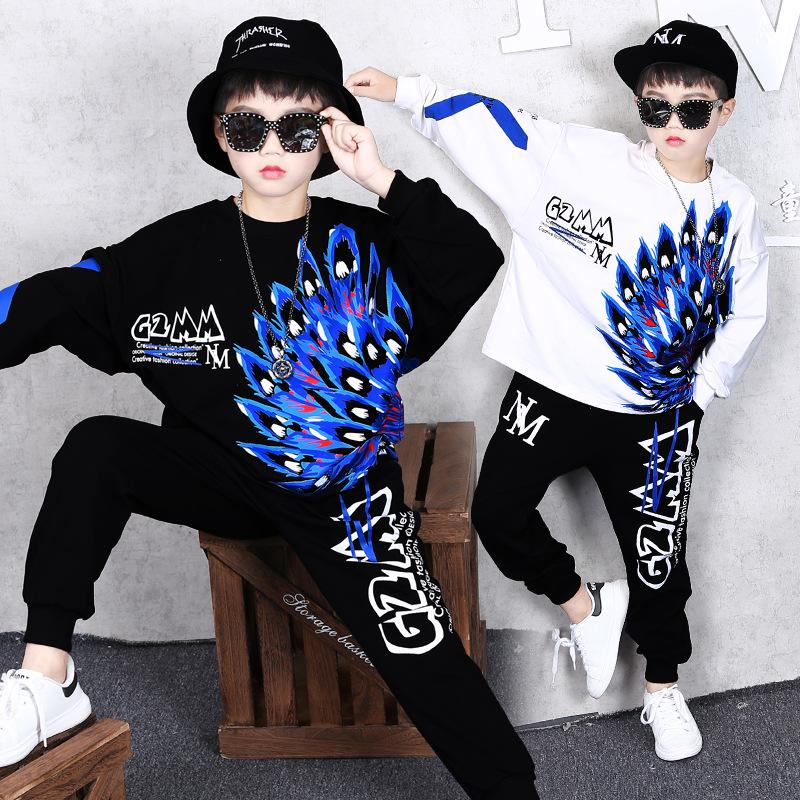 2 Piece Set Boy Sweater Sweatpants Autumn and Winter New Children Handsome Casual Jacket Feather Round Neck Fashion Shirt Trousers