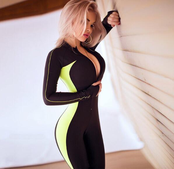 long sleeve zipper patchwork jumpsuit autumn winter women fahsion elastick casual slim body Long Sleeve Jumpsuits