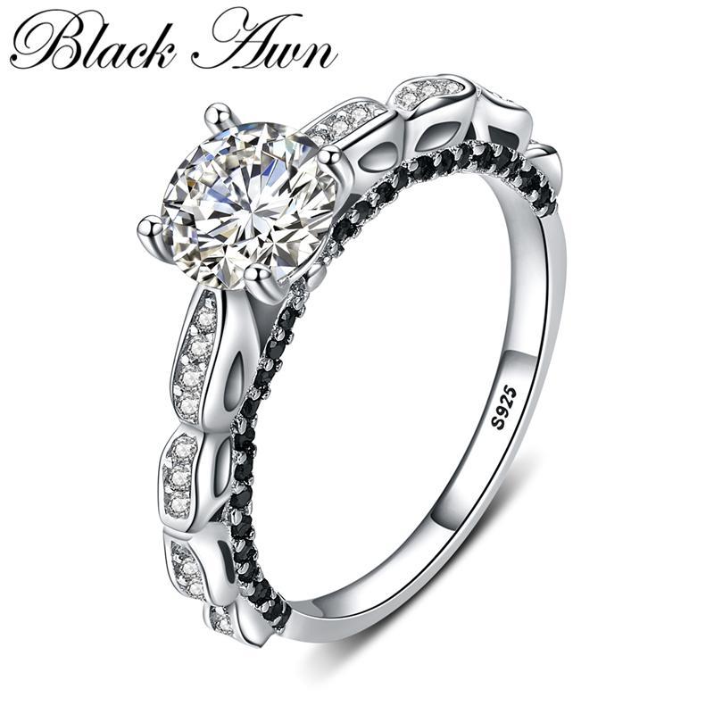 NERO AWN 2020 modo caldo argento 925 gioielli Engagement nero Spinello rotonda Anello di fidanzamento per le donne G096