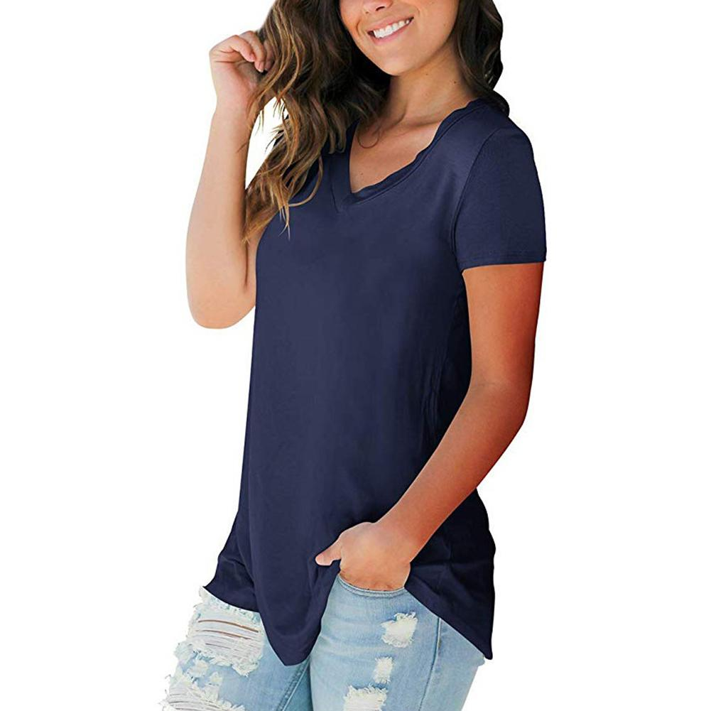 Loose Travel V Neck Pullover Solid Color Ladies Daily Dating Women T Shirt Summer Short Sleeve Fashion Soft Casual