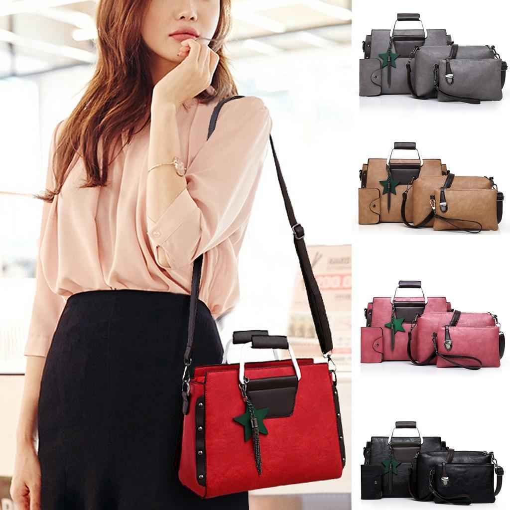 Designer-Aelicy Donne Crossbody Borse signore casuali esterni di quattro pezzi in pelle Zipper solido alle spalle Colore singolo Messenger Bag Pochette