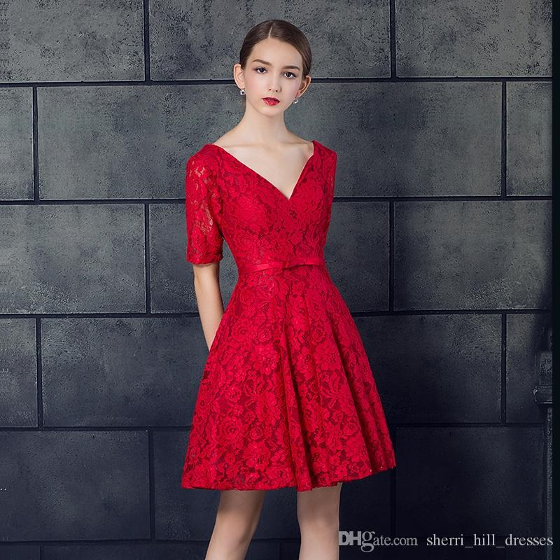 New Red Lace Deep V-Neck Formal A-Line Evening Dresses Short Fashion Halter Strap Small Dresses Prom Gowns DH068