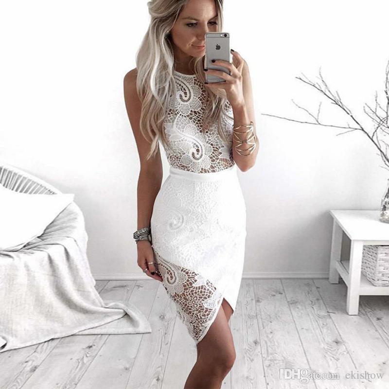 2020 Ucuz Beyaz Seksi Parti Akşam Giyim Dantel Kolsuz Abiye Fermuar Arka Diz Boyu Eve Dönüş Elbise See Through