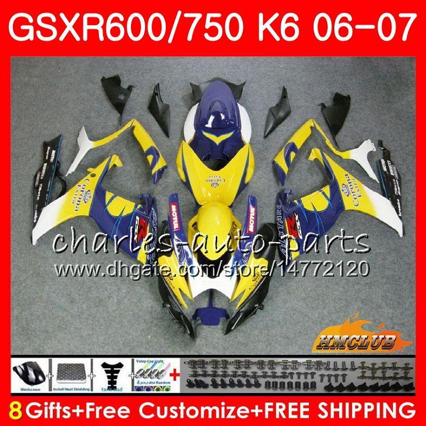 スズキブルーセールホットGSX R600 GSX R750 GSXR600 2006 2007 8HC.22 GSX-R600 GSXR-750 K6 GSXR 600 750 06-07 GSXR750 06 07フェアリングキット