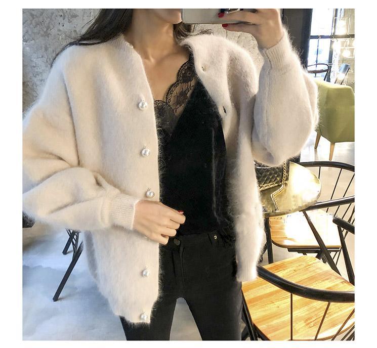 Мода-новый бисероплетение однобортный Женский кардиган свитер зимние корейские свитера элегантный Винтаж твердый Мохер пальто