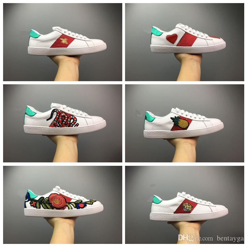 Mens designer shoes Casual Shoes white women sneakers good embroidery bee cock tiger dog fruit on the side with OG box