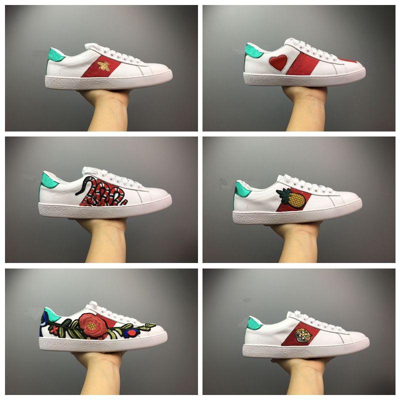 Gucci luxury designer shoes Women Scarpe da uomo di design da uomo Scarpe casual scarpe da ginnastica bianche da donna buon ricamo ape gallo tigre cane frutta sul lato con scatola O