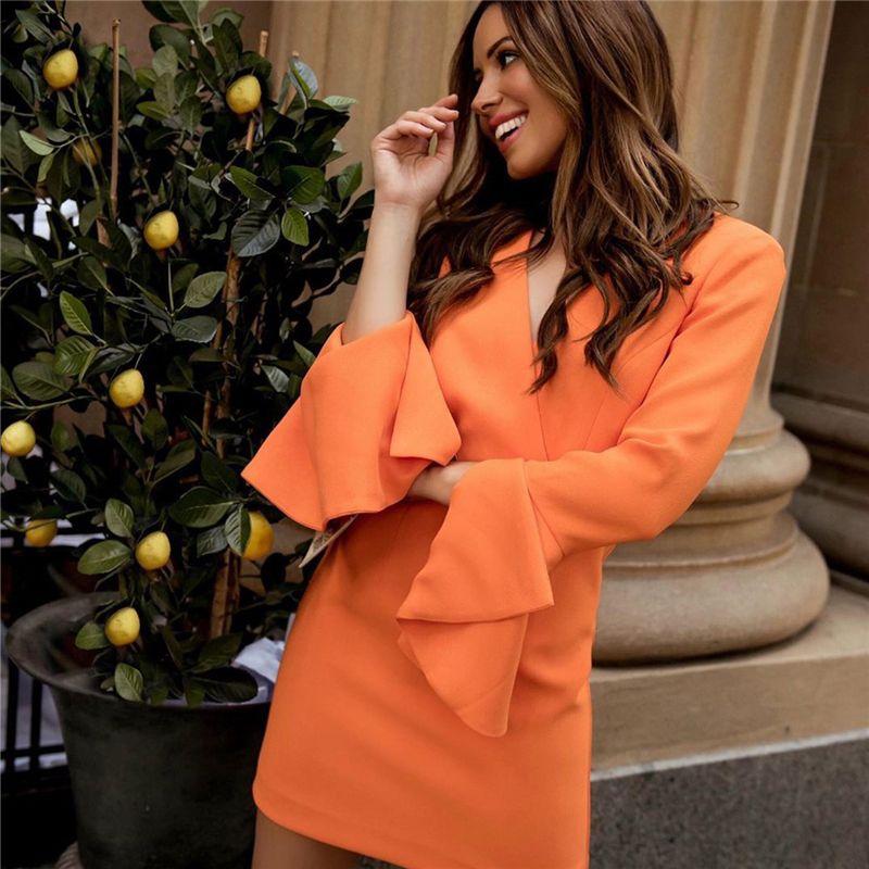 Printemps Femmes Blazer Robes Décolleté en V Skinny Flare manches Party Ladies Robes Solid Slim Sexy lambrissés Femme Robes