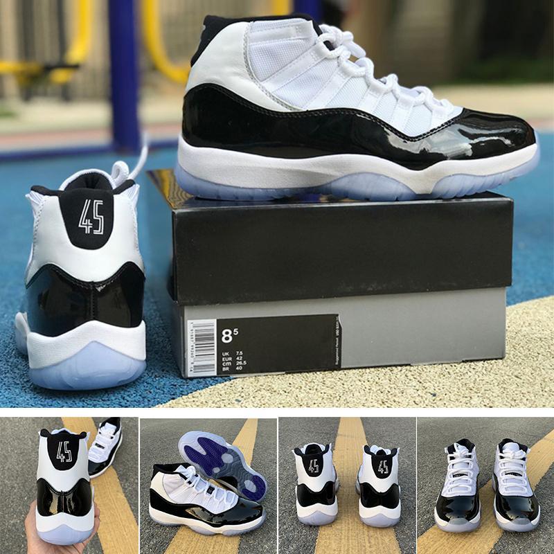 Concord 45 Herren-Basketball-Schuhe 11 11s Schwarz Weiß Damen Designer-Trainer Sportschuhe 36-47 Freies Verschiffen mit Kasten Neue Ankunft